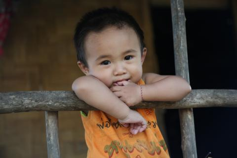 One year old resting in Mokkachok village, Bokeo province, Lao PDR.