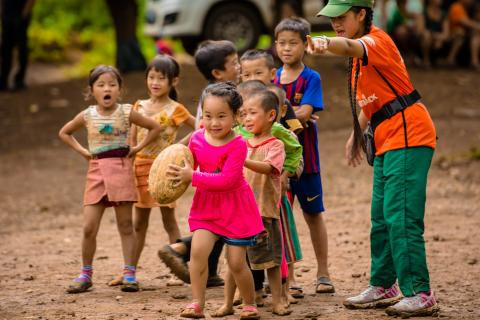 Coach Chee Ha works with young team in her village in northern Laos to deliver life skills learning through sport.