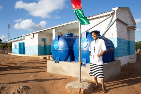 Water trucking supply safe drinking water to the health center in Nikoly, Madagascar.