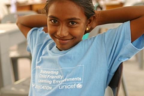 A young girl at Huraa School where UNICEF is providing education materials to schools affected by the tsunami in the Maldives.