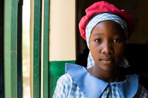 13-year-old girl who was displaced from the town of Gwoza, where she grew up, due to armed conflict, now she is enrolled in classes in Maiduguri, capital of Borno state in northeast Nigeria.