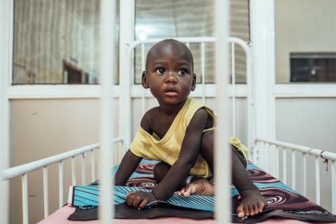 20 months old child who is suffering from severe acute malnutrition and acute watery diarrhea in Nigeria is admitted to the Feeding Centre in Nigeria.
