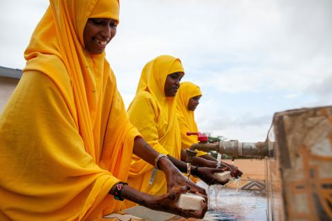 On 5th November 2019, displaced pupils wash their hands before eating at the UNICEF-supported Qansahley Primary School in Dollow, Somalia.