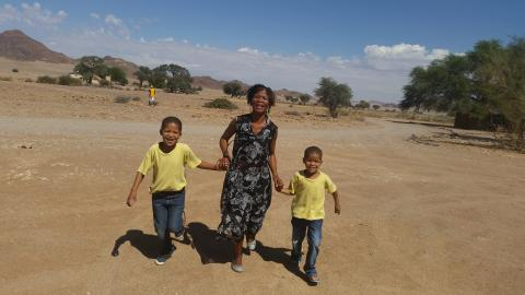 A woman and her two sons, Namibia