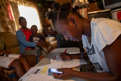 South Africa. Children study remotely.
