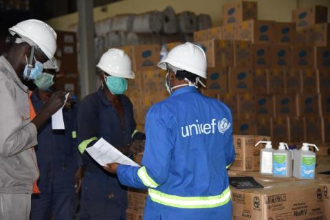 Uganda. A team received deliveries in a warehouse.