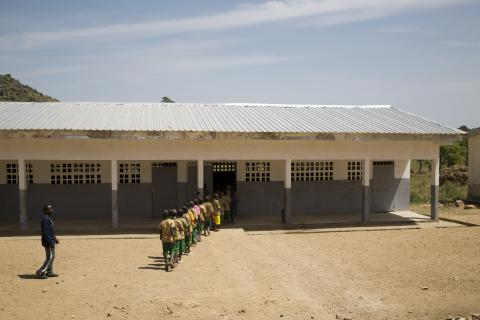 Children enter a school in Cameroon