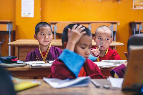 Children in a monastery in Mongolia. Mongolian children living in a religious setting don't usually have the same access to basic education nor do they get the same exposure to health and hygiene education as most other school children.