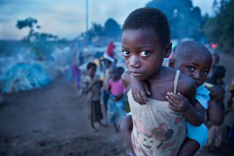 A displaced young girl and her sister in the Democratic Republic of the Congo