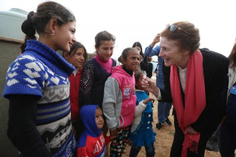 UNICEF Executive Director Henrietta H. Fore greets children in Lebanon