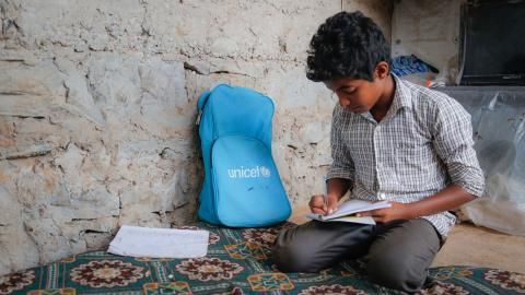 12-year-old Azmi has been displaced from his home due to conflict in Yemen. Azmi wants to go back home so he can go back to his school and see his friends again. March 2018.