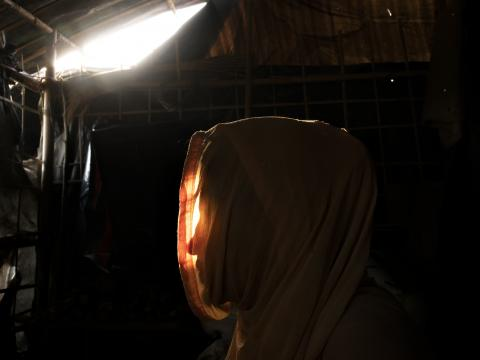 A Rohingya woman in a refugee camp in Cox's Bazar, Bangladesh.