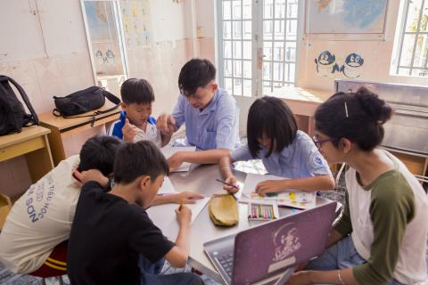 Children studying in Vietnam classroom