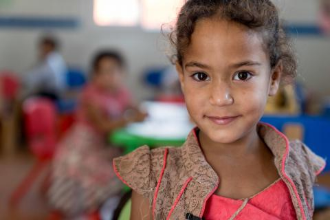 Rimas, 5 and a half years old, almost as old as Za'atari Refugee Camp, on her first day of Kindergarten.