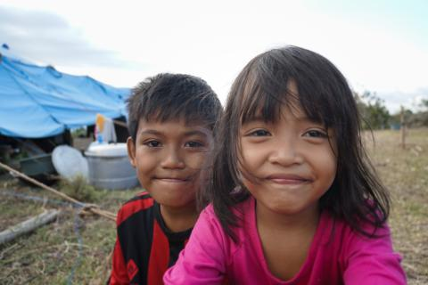 A brother and sister in a displacement camp in Indonesia following the earthquake and tsunami