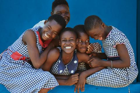 Children at a UNICEF-supported centre in Côte d'Ivoire