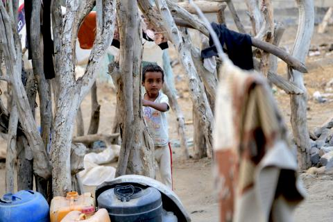 Yemen. A child stands in Hudaydah governorate in Yemen.