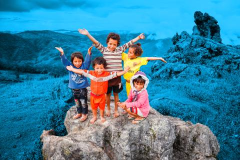 Eufemia (4), Delovia (2,5), Zemilda (6), Nazaria (5) and Clarizia (6) da Conceicao celebrate in the far end of Manu-mera village, which has a new water piping system installed with the help of UNICEF and Ono City, Japan.