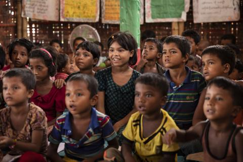 Bangladesh. Children recite a lesson in a learning space.