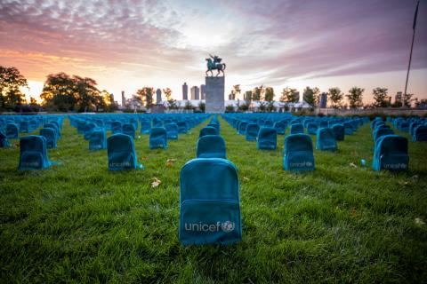 New York. A UNICEF installation of 3,758 backpacks each representing the loss of a young life to conflict in 2018 is displayed at the United Nations.