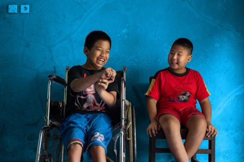 World Children's Day highlights: Syaiful sits next to his best friend Kevin in Indonesia