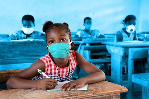 UNICEF results: A girl in a classroom during the COVID-19 pandemic