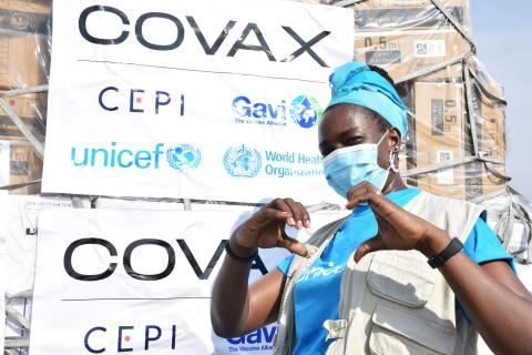South Sudan. A warehouse associate celebrates the first arrival of COVID-19 vaccines.