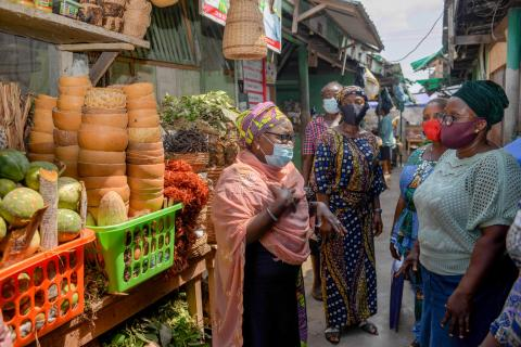 69-year-old Modeenat Abike Onike is a veteran market women's leader, helping to convince other market women that COVID-19 is real and of the importance of the vaccine.