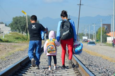 Three children walking on train tracks.