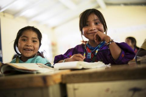 Girls in school in Wixarica, Nuevo Colonia, Mexico