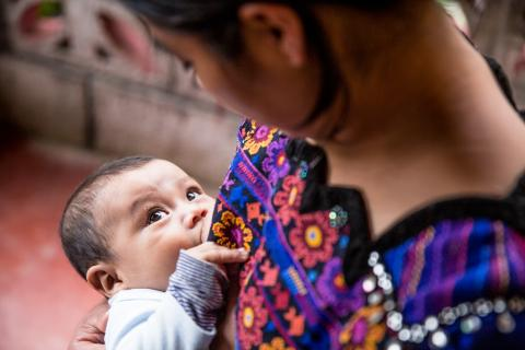 On October 16, 2019, Eva Ramírez a woman of the community of Chicoy, Todos Santos, Huehuetenango, Guatemala is breastfeeding her son, Junior Chales Ramírez (16 months old).