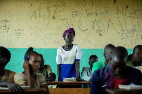 Ethiopia. A student stands up in class.