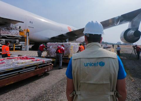 Venezuela. A plane, managed by UNICEF, arrived in the country with supplies.