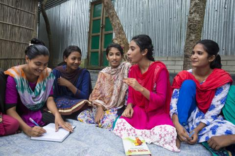 Adolescents girls conduct a group meeting in Dewanganj, Jamalganj, Bangladesh, in July 2018.
