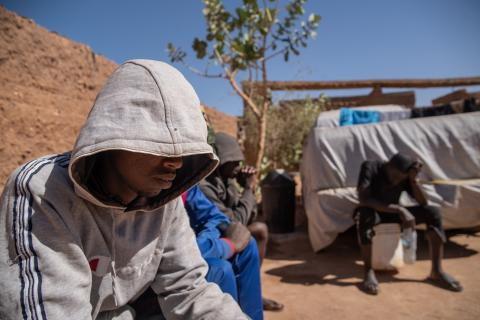 Migrant children from Gambia and Mali at the Agadez clandestine ghetto for migrants.
