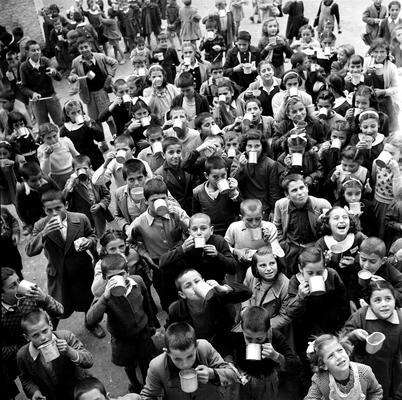 Elementary-school children in Athens crowd around each other outside, while drinking UNICEF-supplied milk. Greece, 1951.