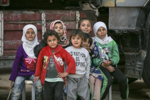 A group of young girls in Syria