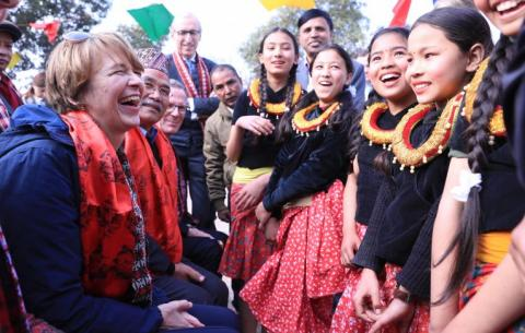 Germany's First Lady visits UNICEF-programmes in Nepal.