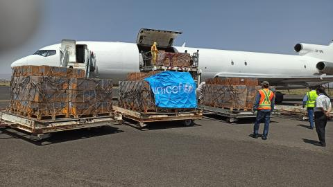 A UNICEF chartered plane landed at Sana'a airport on Saturday 30 May with lifesaving supplies to help curb the spread of COVID-19 in Yemen