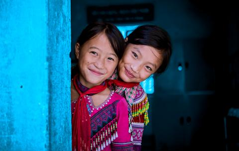 From left to right, Giang Thi Ly and Ma Thi Do (class 4A) sharing room at Sin Cheng semi boarding ethnic lower secondary school in Viet Nam.