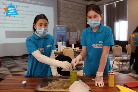 Two girls in STEM4GIRLS in Kyrgyzstan