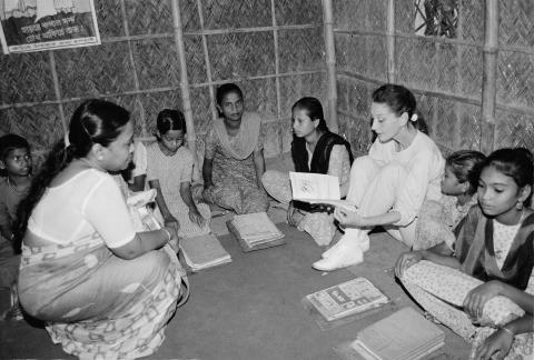 UNICEF Goodwill Ambassador Audrey Hepburn visits girls and their teacher in a classroom in Bangladesh