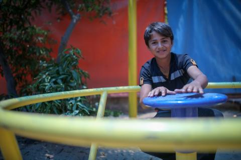 A boy in Gaza plays at a child protection center.