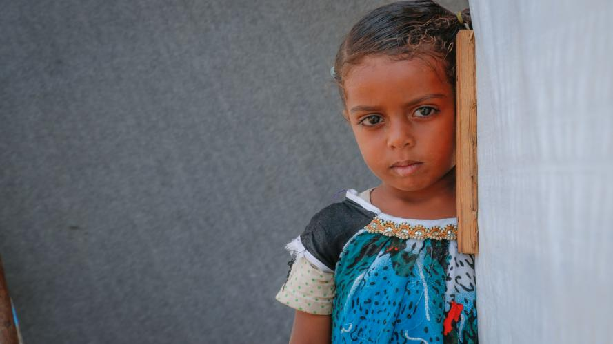 On 14 March 2018 in Aden City, Yemen, a child is displaced from Taiz because of the conflict.