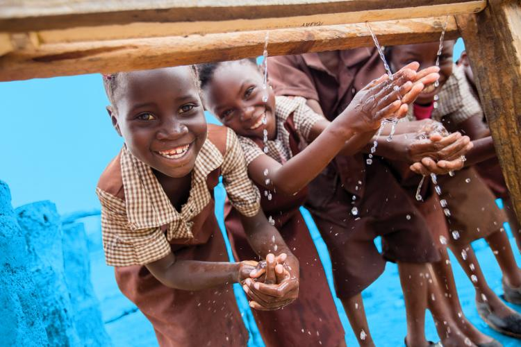 Children wash their hands, Zambia