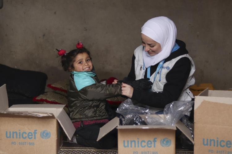 UNICEF delivers supplies to children.