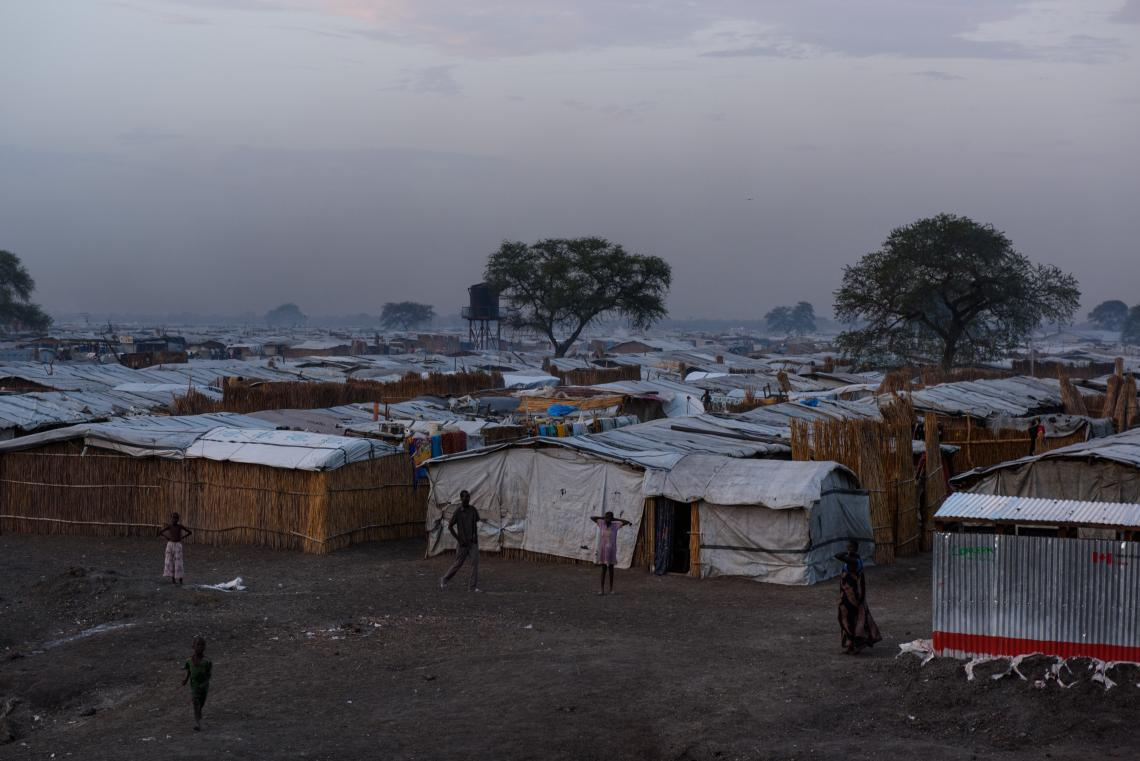 Rows of shelters as a protection of civilians site, South Sudan