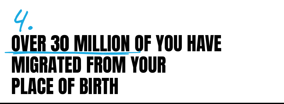 Over 30 million of you have migrated from your place of birth
