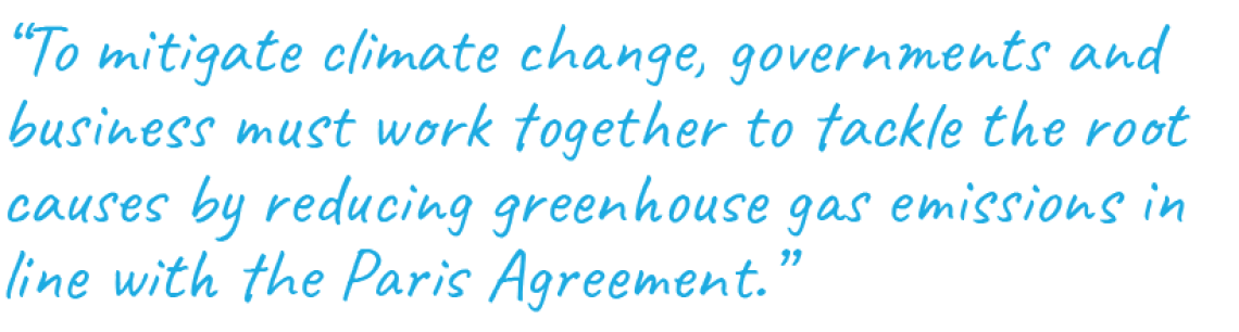 """To mitigate climate change, governments and business must work together to tackle the root causes by reducing greenhouse gas emissions in line with the Paris Agreement."""