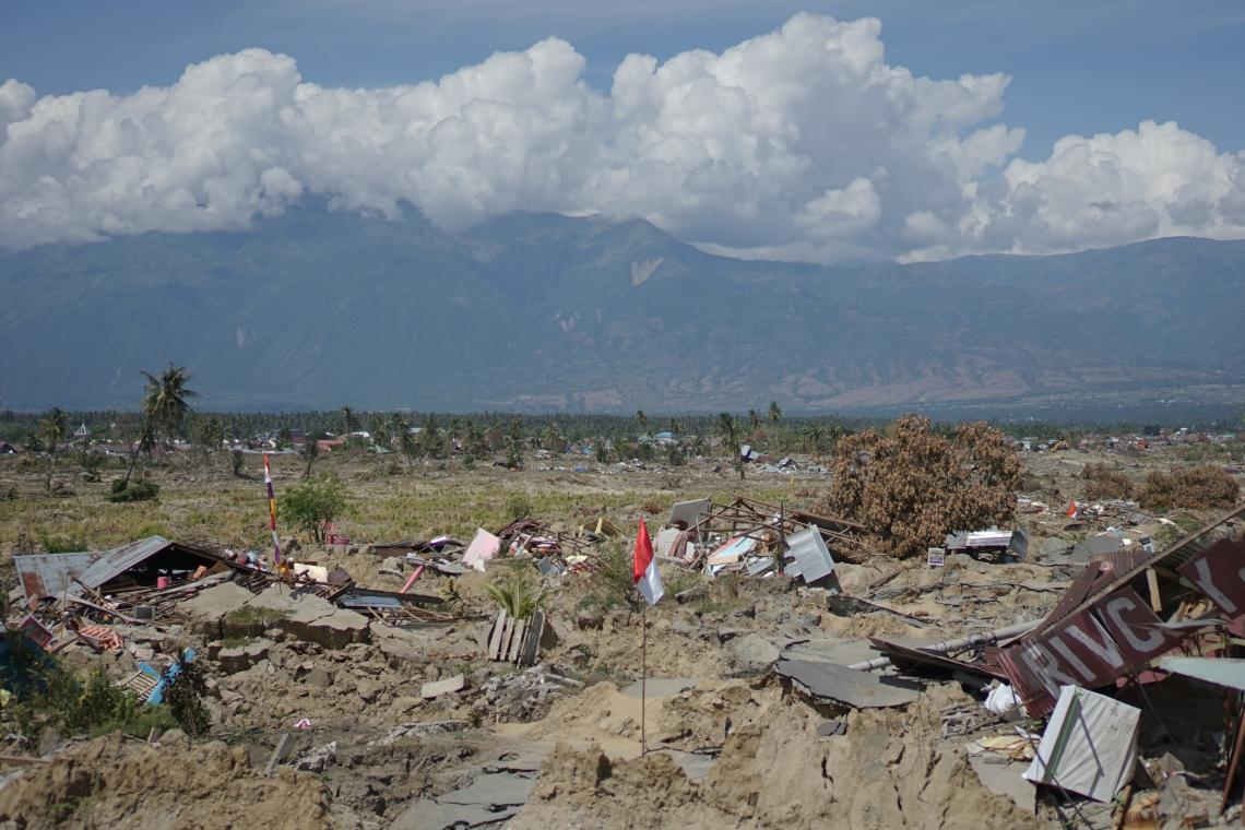 A devastated village in Indonesia after the earthquake
